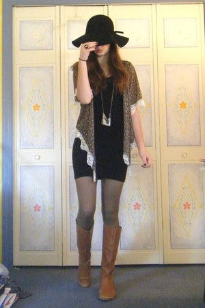 gray sheer floral cardigan - nude patchwork boots - black tank Nordstrom dress