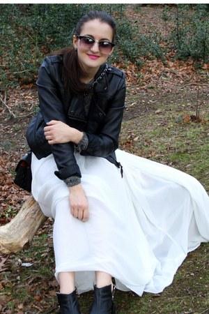 black Topshop boots - black Bershka jacket - white Topshop skirt