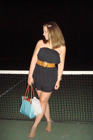 black Metro Park dress - brown Urban Outfitters shoes - blue Long Champ accessor