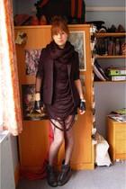 black Primark dress - black new look boots - black Topshop tights - black DIY to