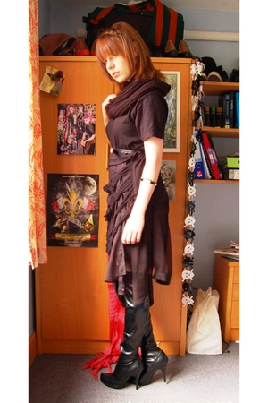 black boots - black shirt - black scarf - black skirt - black belt