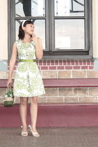 white nicolette accessories - green akku dress - green DIY belt - green a gift a