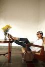 White-korz-cardigan-blue-homma-denim-jeans-blue-little-garage-accessories-