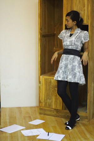 black Carina Swarovsky dress - black Centro tights - black Kokowai shoes - black