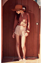floppy suede Urban Outfitters hat - Urban Outfitters shorts - Forever21 blouse