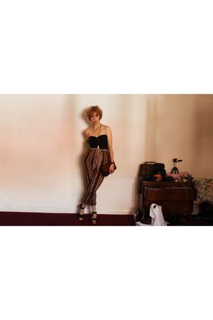 brown vintage pants - black DIY intimate - black Topshop shoes - brown vintage b