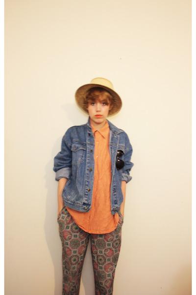 orange shirt - blue jacket - green pants - beige hat - orange shoes - brown Tops