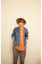 orange shirt - blue jacket - green pants - beige hat - orange shoes - brown Tops