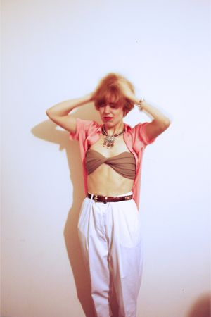 pink blouse - white pants - beige bra - silver accessories - brown accessories