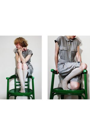 gray vintage dress - beige We Love Colors socks