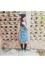 Black-knee-high-new-look-socks-navy-dungarees-cotton-on-skirt