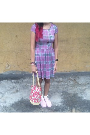 amethyst plaid - gingham new look dress - red watermelon H&M bag