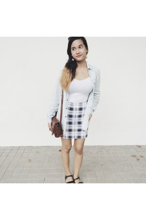 black gingham new look skirt - light blue denim Topman jacket