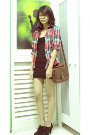 Zara shirt - Forever21 dress - vintage purse - Zara shoes