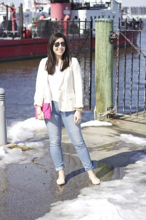 JCrew bag - Loft jeans - JCrew jacket - ray-ban sunglasses - Nordstrom t-shirt