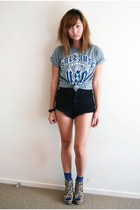 heather gray Karen Walker t-shirt - black One Teaspoon shorts - blue Topshop soc