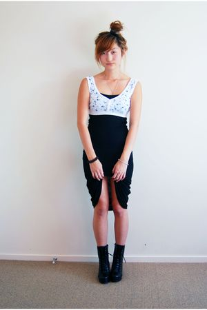 black Jeffrey Campbell shoes - white Vintage Crop top - black Glassons Maxi dres