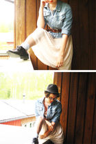 denim KappAhl jacket - black Hanna Sarn for Seppl shoes - pink H&M dress