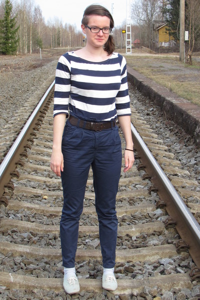 navy H&M pants - light blue seppl shoes - navy H&M shirt - brown H&M belt