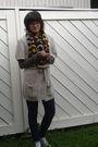 Brown-shirt-blue-leggings-white-h-m-cardigan-gray-h-m-shoes-yellow-scarf