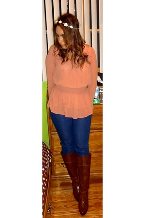 salmon Forever 21 blouse - dark brown kohls boots - navy Forever 21 jeans