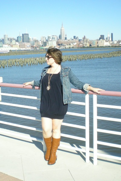 blue Gap jacket - gold modcloth necklace - blue f21 dress - brown Wanted boots