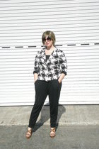 black Gap pants - white rachel rachel roy blazer - brown Steve Madden shoes