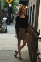 black pink Prada heels - cashmere Prada cardigan