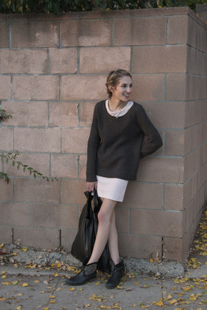 waffle knit free people dress - leather Steven by Steve Madden boots
