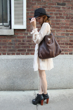 neutral Ark & Co dress - Urban Outfitters hat - leather Prada bag