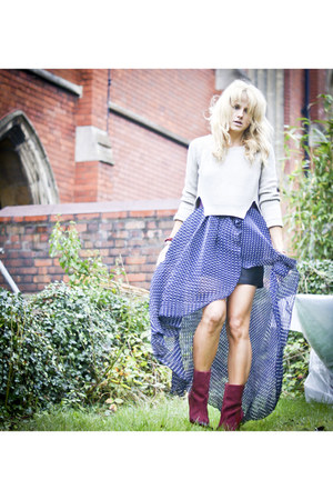 navy polka dot Love dress - crimson Zara boots - ivory H&M jumper