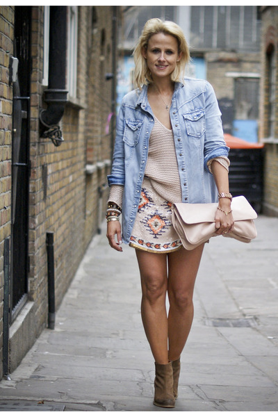 nude Miu Miu bag - blue River Island shirt - nude Zara skirt - peach Zara jumper