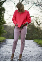 hot pink Topshop sweater - light pink acne pants
