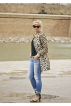 brown leopard print Zara coat - dark green metallic heel Celine sandals