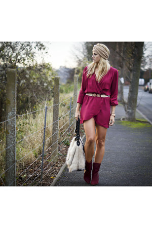 maroon Love dress - crimson Zara boots - beige H&M bag