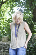 navy Topshop necklace - bronze Topshop necklace - olive green Topshop vest