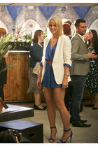 blue Love romper - blue Celine sandals - hot pink Miu Miu belt