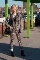 denim thrifted jacket - loza Jeffrey Campbell boots - doctor Zara bag