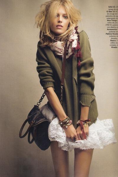 white lace skirt - army green sweater - crimson scarf - dark brown bag