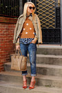 Blue-jeans-camel-jacket-bronze-polka-dot-sweater-red-heels