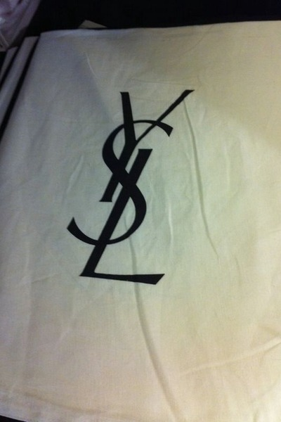 white Yves Saint Laurent bag