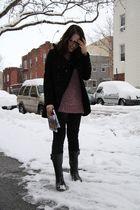 black boots - black American Apparel leggings - pink H&M sweater