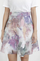 Abstract Floral Print Neoprene Skirt