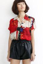 Vintage Artsy Pattern S/S Chiffon Shirt