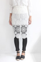 Floral Lace Embroidery Elastic Waist Pencil Skirt