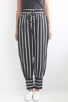 Vertical Stripe Chiffon Tapered Pants
