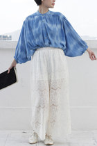 Vintage Cloud Dyed Lantern Sleeves Top/ Blouse