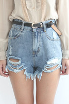 High Rise Stone Wash Distressed Denim Shorts
