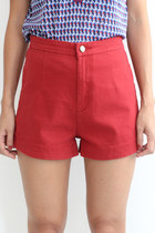 High Rise Elastic Denim Shorts
