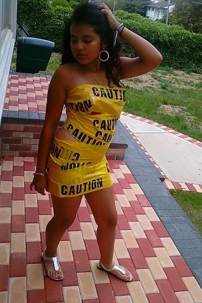 caution tape dress - sandals